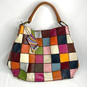 NWT Stella + Max Genuine Leather Patchwork Slouch